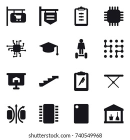 16 vector icon set : shop signboard, clipboard, chip, graduate hat, hoverboard, presentation, stairs, iron board, cutting board, utility room