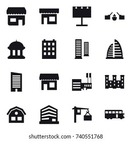 16 vector icon set : shop, billboard, drawbridge, goverment house, building, skyscrapers, skyscraper, mall, palace, house, bus