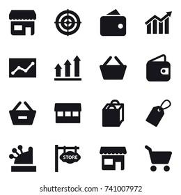 16 vector icon set : shop, target, wallet, diagram, statistic, graph up, basket, remove from basket, market, shopping bag, label, cashbox, store signboard, cart