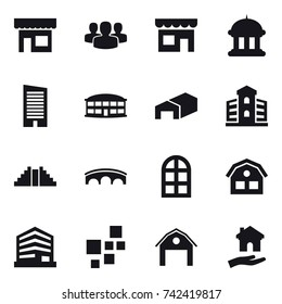 16 vector icon set : shop, group, goverment house, skyscraper, airport building, warehouse, building, pyramid, bridge, arch window, house, barn, housing