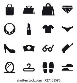 16 vector icon set : shopping bag, diamond, necklace, lipstick, t-shirt, underpants, shoes, suitcase, mirror, hanger, slippers