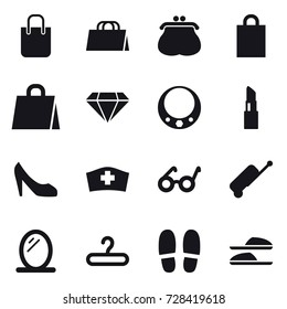 16 vector icon set : shopping bag, purse, diamond, necklace, lipstick, shoes, suitcase, mirror, hanger, slippers