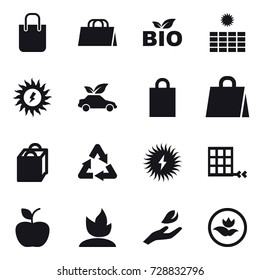 16 vector icon set : shopping bag, bio, sun power, eco car, apple, sprouting, hand leaf, ecology