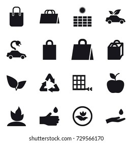 16 vector icon set : shopping bag, sun power, eco car, electric car, apple, sprouting, hand drop, ecology, hand and drop