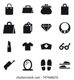 16 vector icon set : shopping bag, purse, diamond, necklace, lipstick, t-shirt, suitcase, mirror, slippers