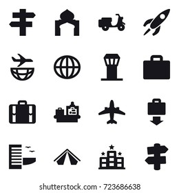 16 vector icon set : singlepost, minaret, globe, airport tower, suitcase iocn, suitcase, baggage checking, airplane, baggage get, hotel, tent, hotel, signpost