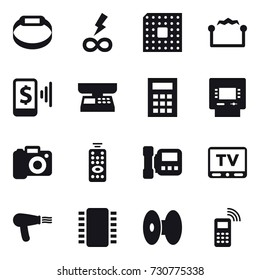 16 vector icon set : smart bracelet, infinity power, cpu, electrostatic, mobile pay, market scales, calculator, atm, camera, remote control, intercome, tv, hair dryer