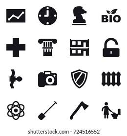 16 vector icon set : statistic, clock, chess horse, bio, column, modular house, unlock, camera, shield, radiator, shovel, axe, toilet cleaning