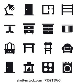 16 vector icon set : table lamp, door, plan, table, nightstand, chest of drawers, wardrobe, dresser, stool, chair, armchair, fireplace, washing machine
