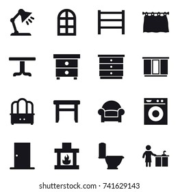16 vector icon set : table lamp, arch window, curtain, table, nightstand, chest of drawers, wardrobe, dresser, stool, armchair, washing machine, door, fireplace, toilet, kitchen cleaning