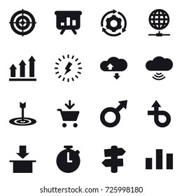 16 vector icon set : target, presentation, around gear, globe connect, graph up, lightning, cloude service, cloud wireless, add to cart, signpost
