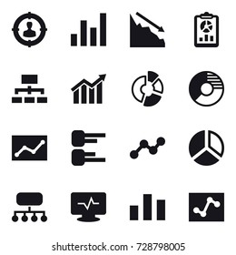 16 vector icon set : target audience, graph, crisis, report, hierarchy, diagram, circle diagram, statistic, structure