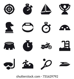 16 vector icon set : target, stopwatch, boat, trophy, chess horse, smart bracelet, dome house, stadium, motorcycle, pool, diving mask, surfer, tennis, yacht