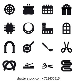 16 vector icon set : target, purse, calendar, gift, chip, necklace, mansion, arch window, arch, pan, ladle, scissors, soil cutter, stack of towels