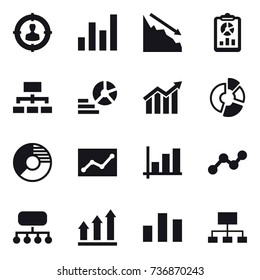 16 vector icon set : target audience, graph, crisis, report, hierarchy, diagram, circle diagram, statistic, structure, graph up