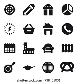 16 vector icon set : target, pencil, gift, diagram, lightning, remove from basket, home, phone, mansion, armchair, radiator, pan