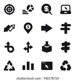 16 vector icon set : target, diagram, dollar arrow, notebook, up down arrow, dollar pin, right arrow, singlepost, signpost, recycling