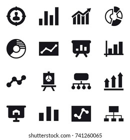 16 vector icon set : target audience, graph, diagram, circle diagram, statistic, presentation, structure, graph up, hierarchy