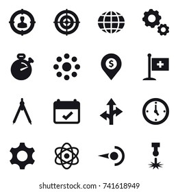 16 vector icon set : target audience, target, globe, gear, stopwatch, round around, dollar pin, drawing compass, watch