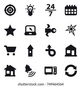 16 vector icon set : target, bulb, 24/7, calendar, star, notebook, satellite, bang, cart, tower, home, bell, reload