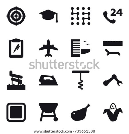 be22aea8 16 vector icon set : target, graduate hat, chip, airplane, hotel,