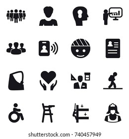 16 vector icon set : team, woman, bulb head, presentation, group, pass card, architector, tourist, invalid, Chair for babies, skyscrapers cleaning, cleaner