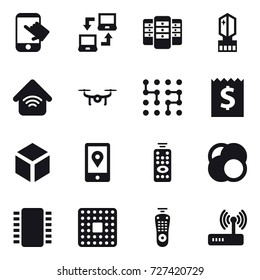16 vector icon set : touch, notebook connect, server, crystall  memory, wireless home, drone, chip, receipt, 3d, remote control