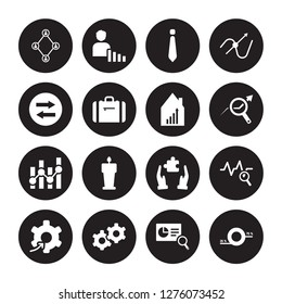 16 vector icon set : Users interconnected, Search Analytics, Service, Setting flow interface, Sine Waves Analysis, Round Value Chart, Synchronization isolated on black background