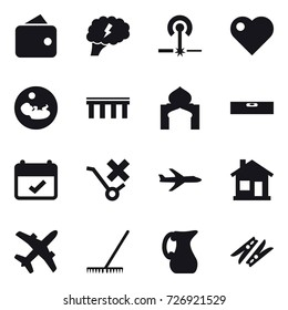 16 vector icon set : wallet, brain, laser, heart, bridge, minaret, level, plane, home, rake, jug, clothespin
