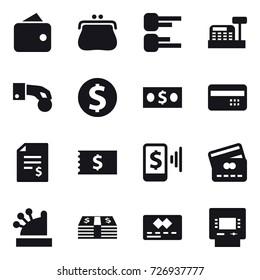 16 vector icon set : wallet, purse, diagram, cashbox, hand coin, dollar coin, money, credit card, account balance, receipt, mobile pay, atm