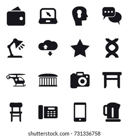 16 vector icon set : wallet, notebook, bulb head, discussion, table lamp, cloude service, star, airport building, camera, stool, chair, kettle