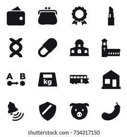 16 vector icon set : wallet, purse, medal, lipstick, mansion, church, bus, home, bell, pig, eggplant