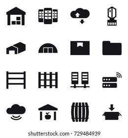 16 vector icon set : warehouse, server, cloude service, crystall  memory, hangare, barrel, package