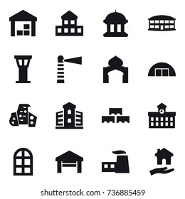 16 vector icon set : warehouse, cottage, goverment house, airport building, airport tower, lighthouse, minaret, hangare, modern architecture, building, block wall, university, arch window, garage