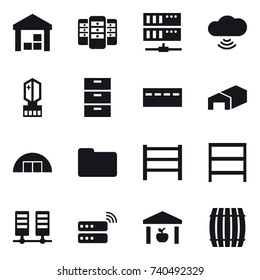 16 vector icon set : warehouse, server, cloud wireless, crystall  memory, bunker, hangare, rack, barrel
