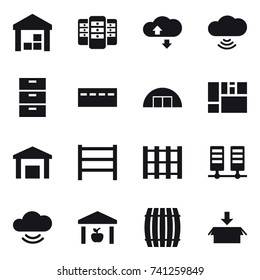 16 vector icon set : warehouse, server, cloude service, cloud wireless, bunker, hangare, barrel, package