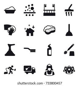 16 vector icon set : washing, skyscapers cleaning, vacuum cleaner, wiping, house cleaning, sponge with foam, plunger, brush, toilet cleanser, toilet brush, home call cleaning, cleaner, outsource