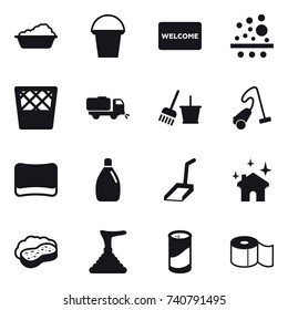 16 vector icon set : washing, bucket, welcome mat, trash bin, sweeper, bucket and broom, vacuum cleaner, sponge, cleanser, scoop, house cleaning, sponge with foam, plunger, cleanser powder