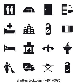 16 vector icon set : wc, hangar, door, hotel, hospital, do not distrub, wardrobe, bed, fireplace, hard reach place cleaning, water tap sink, brooming, home call cleaning, iron board, please clean