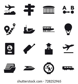 16 vector icon set : weather management, singlepost, airport building, train, air ballon, passport, suitcase, baggage, departure, cruise ship, yacht, compass