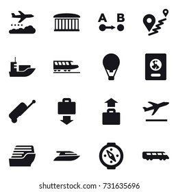 16 vector icon set : weather management, airport building, train, air ballon, passport, suitcase, baggage get, baggage, departure, cruise ship, yacht, compass