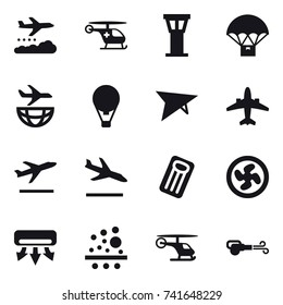 16 vector icon set : weather management, airport tower, air ballon,  plane, airplane, departure, arrival, inflatable mattress, cooler fan, air conditioning, blower