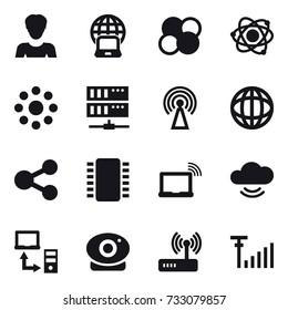 16 vector icon set : woman, notebook globe, atom core, atom, round around, server, antenna
