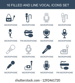 16 vocal icons. Trendy vocal icons white background. Included filled and line icons such as microphone, pin microphone. vocal icon for web and mobile.