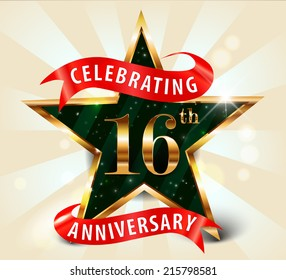 16 year anniversary celebration golden star ribbon, celebrating 16th anniversary decorative golden invitation card - vector eps10