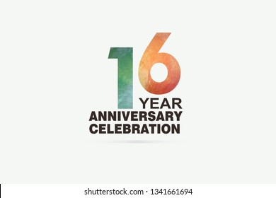 16 year anniversary celebration logotype with watercolor Green and Orange Emboss Style isolated on white background for invitation card, banner or flyer -vector