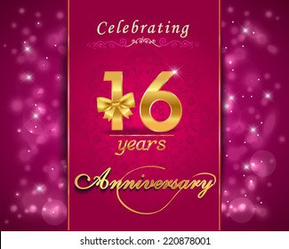 16 year anniversary celebration sparkling card, 16th anniversary vibrant background -  vector eps10