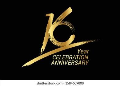 16 year anniversary chalk, golden ink Style , minimalist logo. years, jubilee, greeting card. Birthday invitation sign. Black space vector illustration on black background - Vector