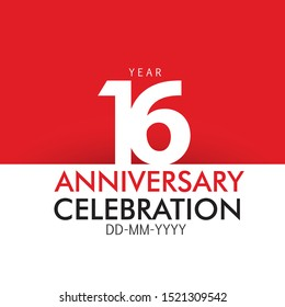 16 Year Anniversary Concept Red Color and White, For Invitation, banner, ads, greeting card - Vector