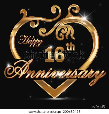 fc156f9c51ca6 16 Year Anniversary Golden Heart 16th Stock Vector (Royalty Free ...